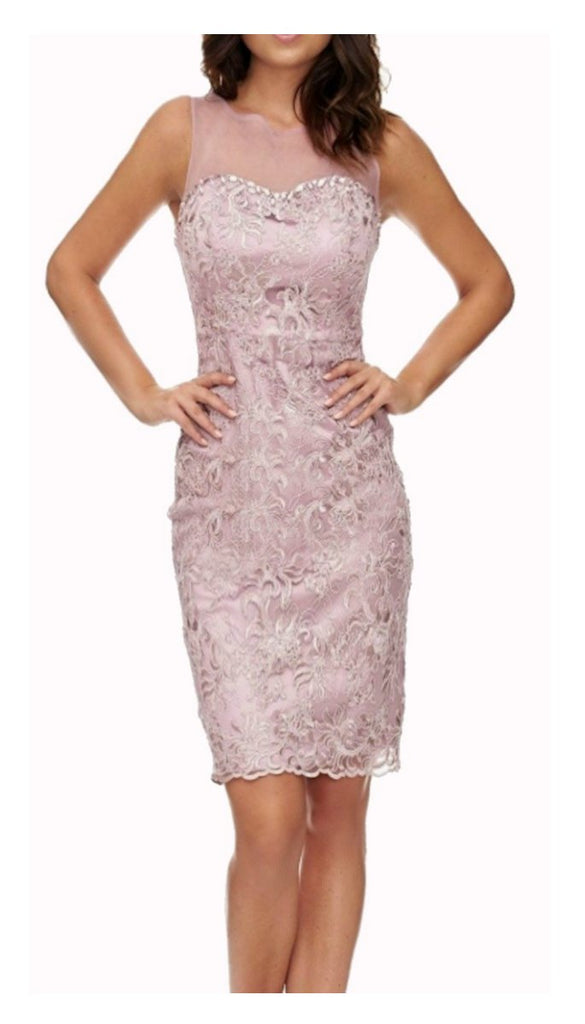 4777 Dusky Pink Lace Dress With Shawl