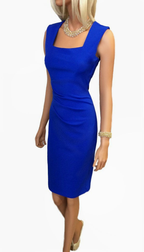 4797 (SIZE 12 ONLY) Blue Side Pleat Dress (Keyhole Back)