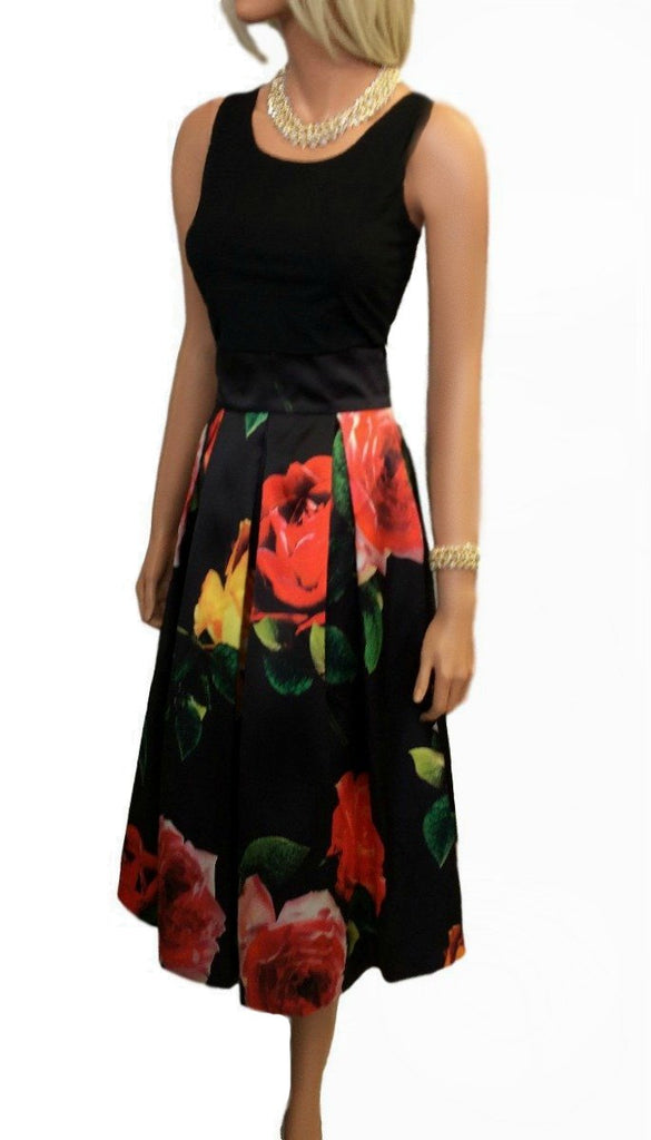 4-4799 Floral Box Pleat Midi Skirt