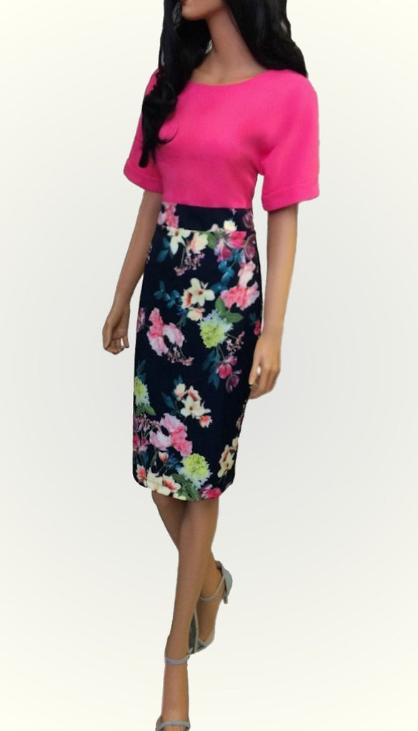 4858 Navy/Pink Contrast Dress