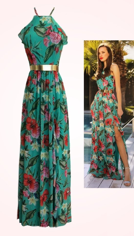 4863 (SIZE 12 ONLY) Green Floral Belted Maxi Dress
