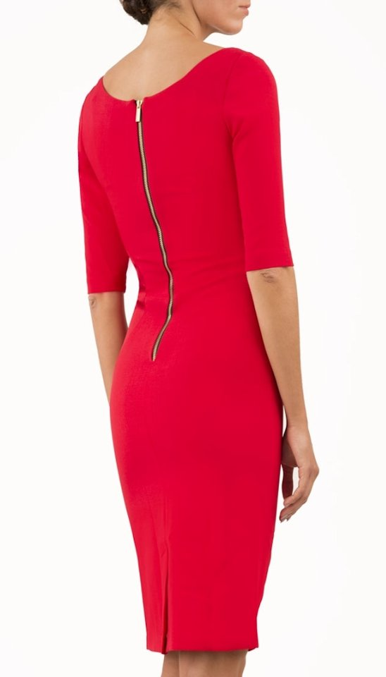 4880 Red Sweetheart Neck Dress
