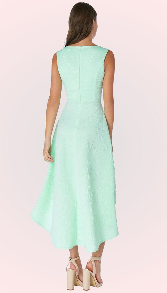 4893 Mint Jacquard High Low Dress