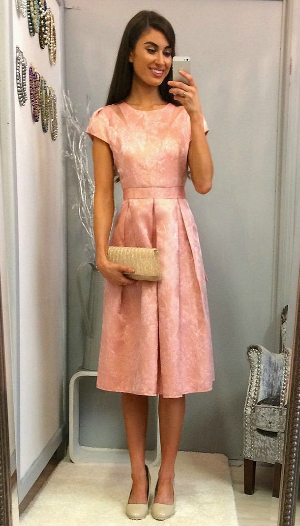 4929 Coral Brocade Skater Dress                    - (SIZE 14 ONLY)