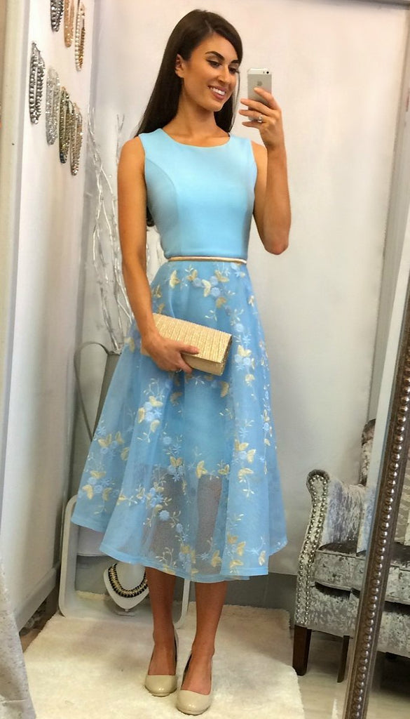4930 Baby Blue Contrast Flare Dress            - (SIZE 14/16 ONLY)