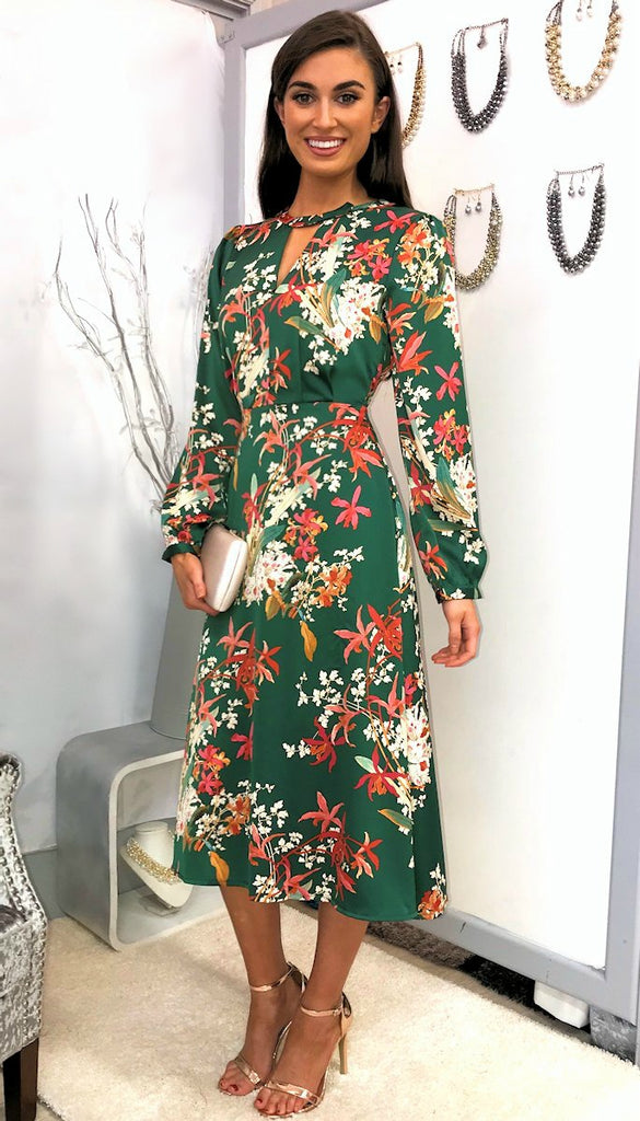 5009 Green Floral Puff Sleeve Dress ----- (SIZE 8 ONLY)