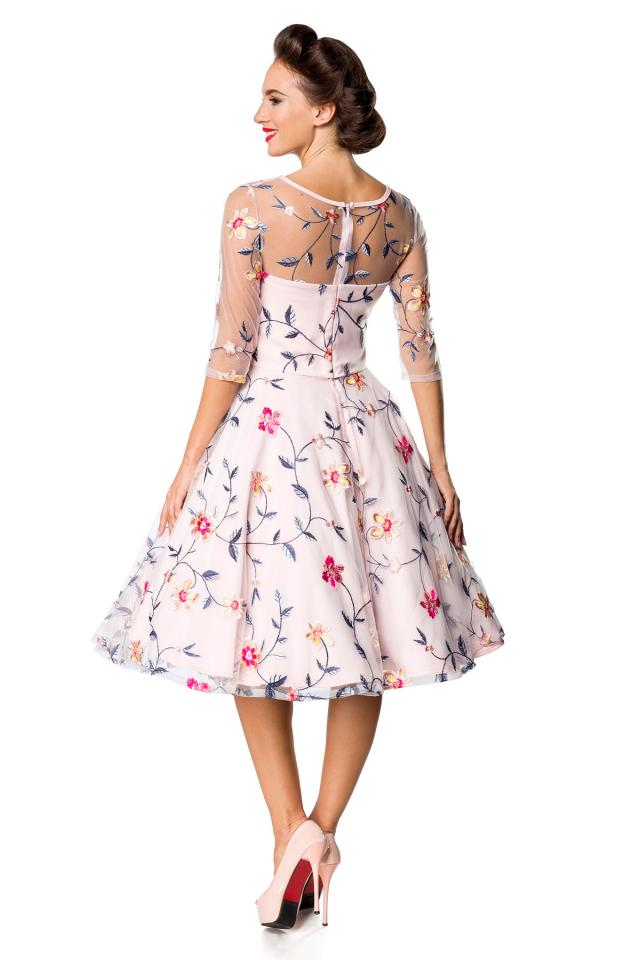 5-5394 - (SIZES 8,12 ONLY) - Floral Embroidered Flare Dress