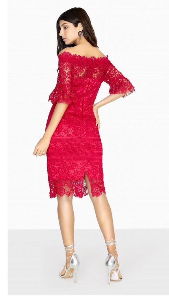 5022 Pink Lace Bardot Dress Flute Sleeves - (SIZES 12,14,16)