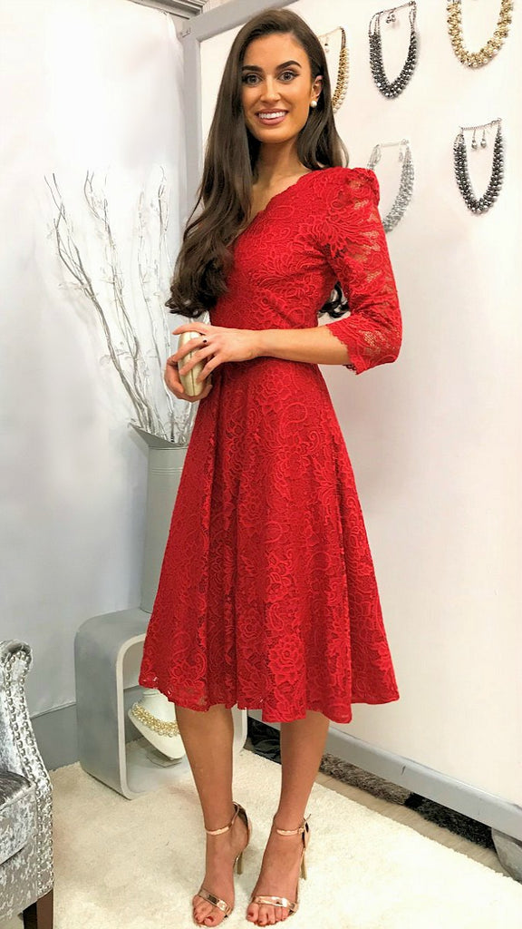 5029 (SIZE 10 ONLY) Red Lace Sleeved Flare Dress