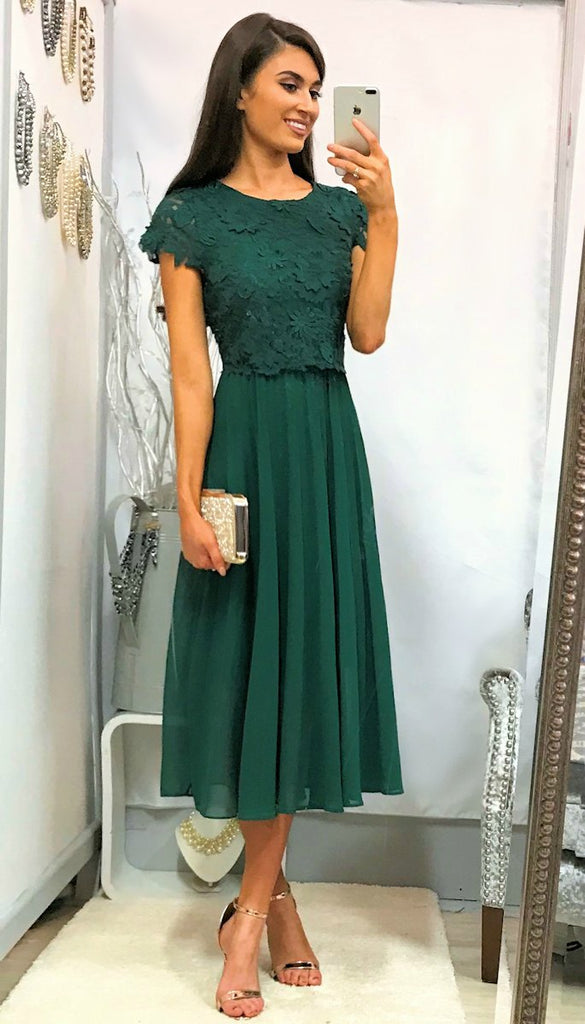 5031 Green Crochet Top Midi Dress               - (SIZE 12 ONLY)