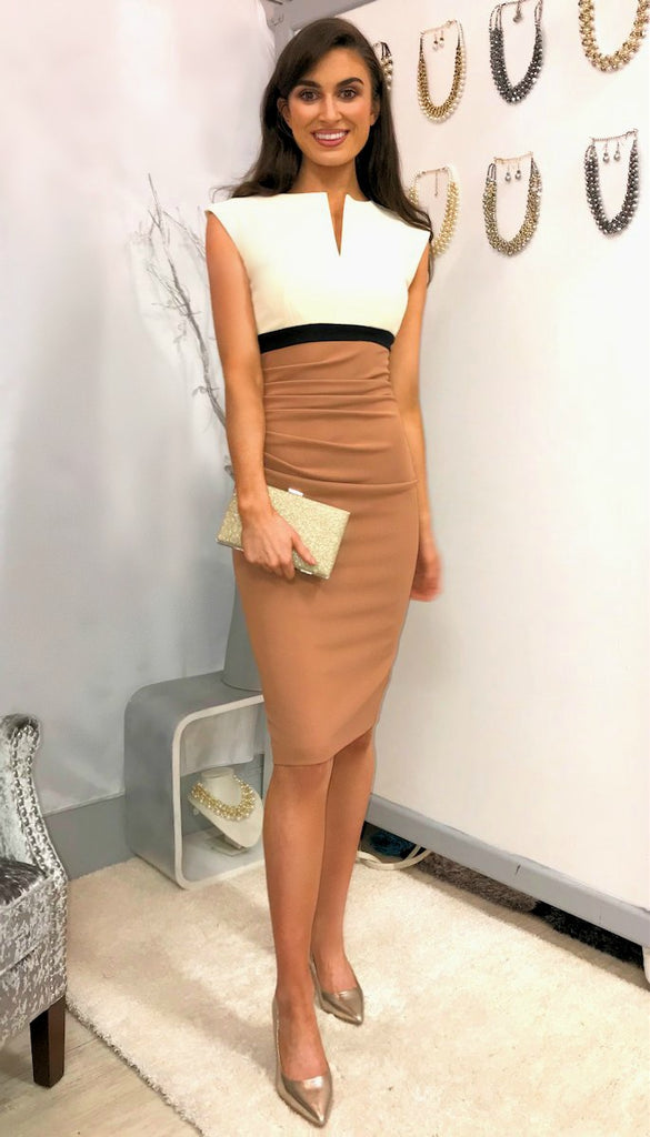 5033 Diva Catwalk Nadia Colour Block Midi Dress