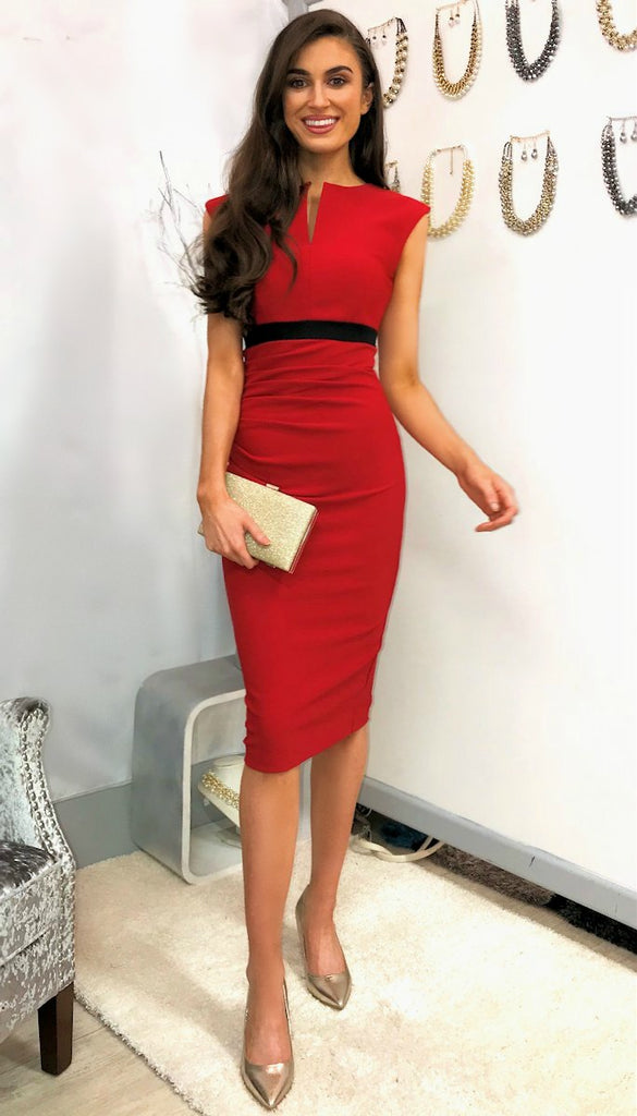 5036 Diva Catwalk Nadia Red Midi Dress        - (SIZES 12,14 ONLY)