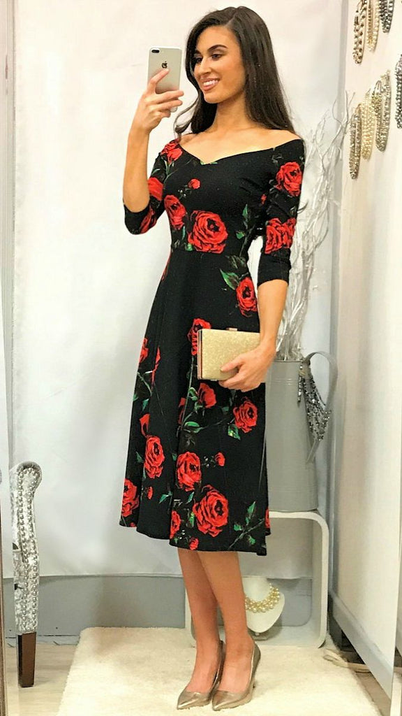 5040 Black Floral Bardot Flare Dress         - (SIZES 8,14 ONLY)