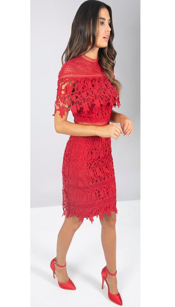 5060 Red Crochet Cape Dress                       - (SIZES 12,16 ONLY)