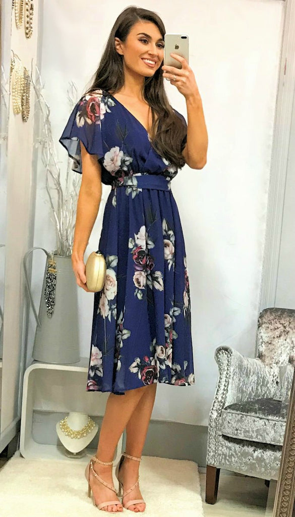 5073 (SIZE 12 ONLY) Purple Floral Chiffon Dress