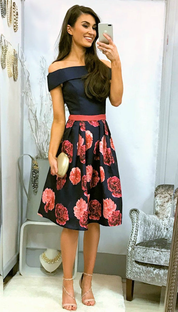 5076 Navy/Coral Bardot Flare Dress                 - (SIZE 16 ONLY)