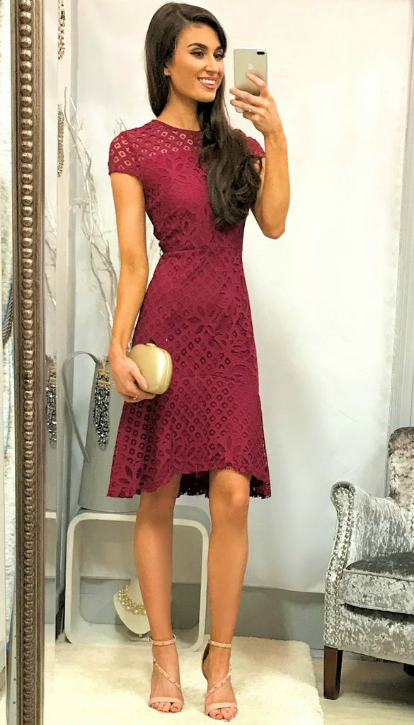 5090 Magenta Fit & Flare Crochet Dress       - (SIZES 12,16)