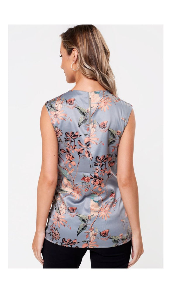 5094 Grey Floral Pearl Neckline Top           - (SIZES 14,16 ONLY)