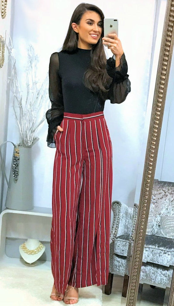4-5101 Stripe Wide Leg Trousers