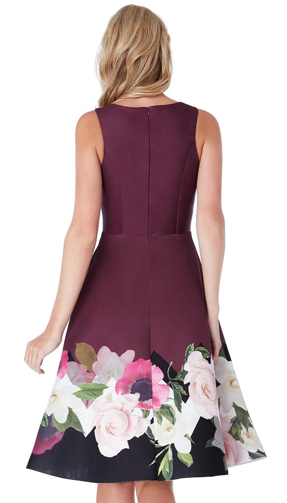 5106 Wine Floral Hem Midi Flare Dress  ------ (SIZES 10,12,14,16)
