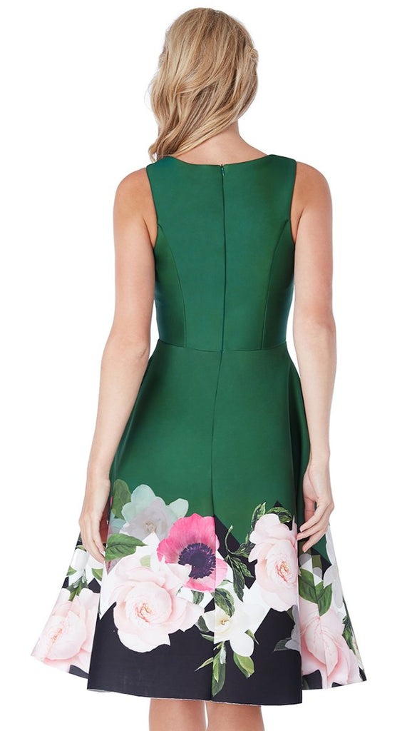 5107 Green Floral Hem Midi Flare Dress ------ (SIZES 8,12,14)