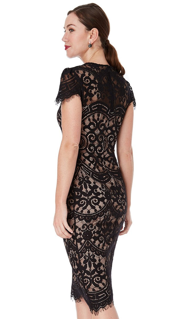 5142 Black/Nude Cap Sleeve Lace Dress ---- (SIZES 8,16 ONLY)