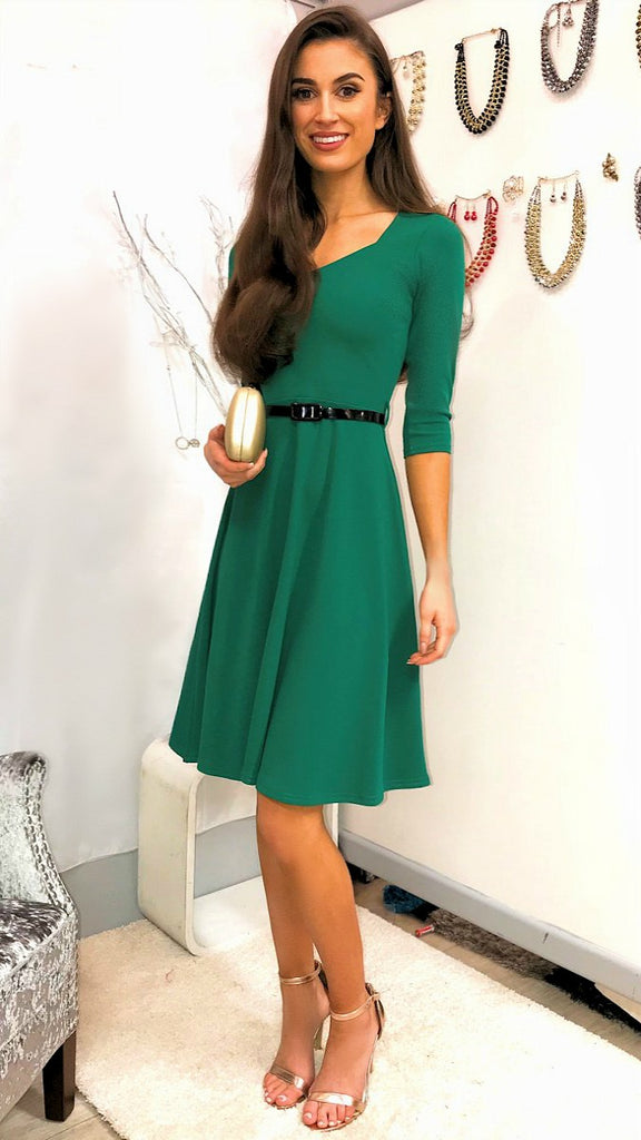 5147 Emerald Flare Midi Dress ----- (SIZES 10,16 ONLY)