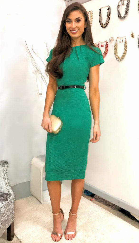5148 Emerald Belted Bodycon Midi Dress  ---- (SIZE 14 ONLY)