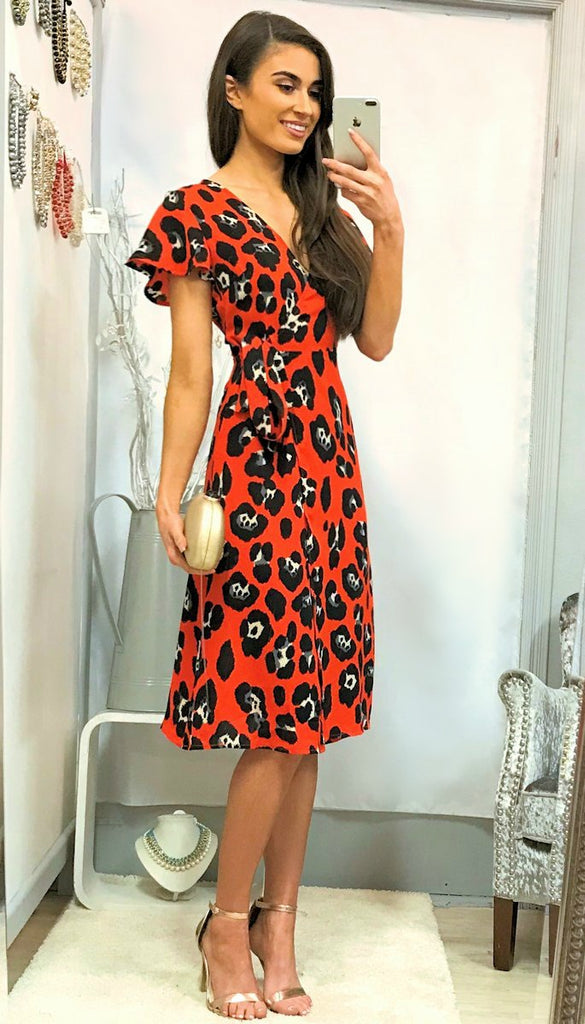 5150 Animal Print Wrap Dress - - - - (SIZE 8,14 ONLY)
