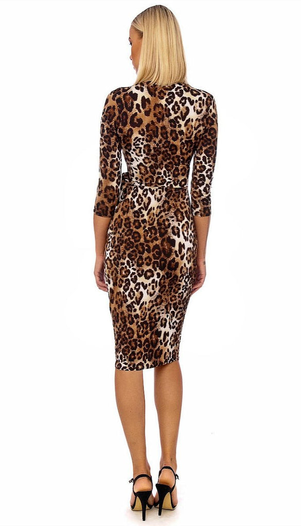 5152 Leopard Print Wrap Style Dress ----- (SIZE 16,18 ONLY)