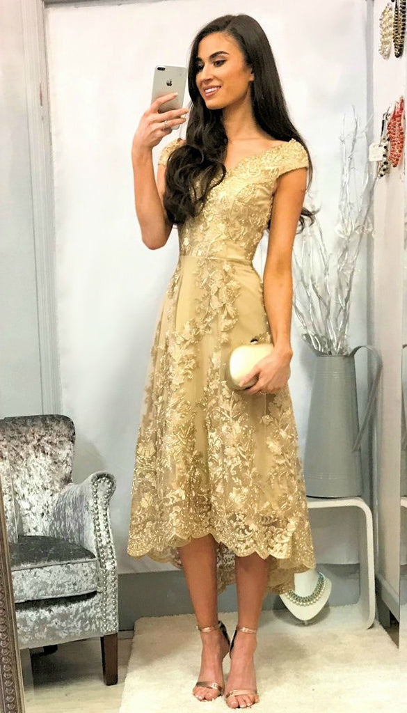 5163 Embroidered Lace Dip Hem Dress ------ (SIZE 16 ONLY)