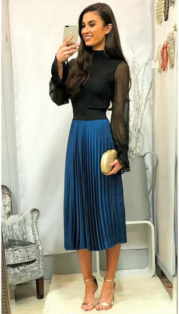 5177 Teal Pleat Midi Skirt ONLY