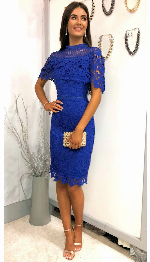 5180 Blue crochet Cape Style Dress ----- (SIZES 8,10,14 ONLY)
