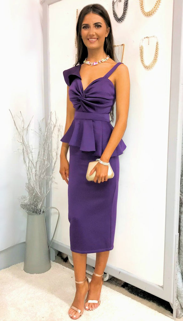 4-5205 Purple Peplum Dress (2 pieces) --- (SIZES 12,14,16 ONLY)