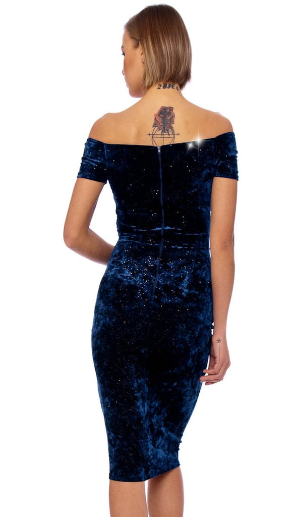 4-5210 Navy Velvet Twisted Bust Dress ---- (SIZES 8,18 ONLY)