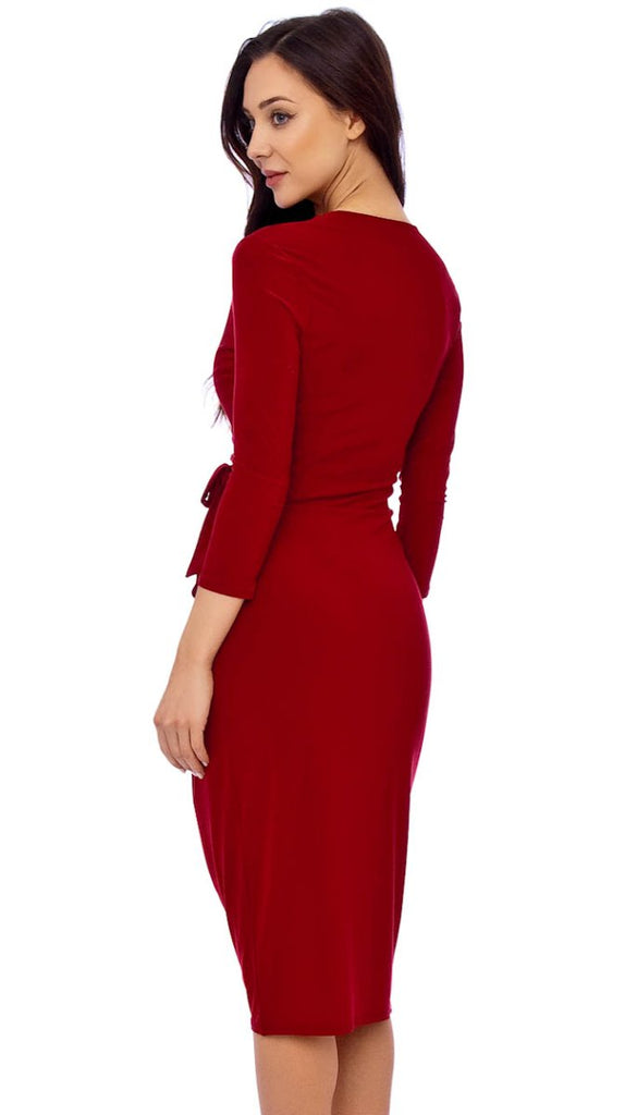5-5213 Red Wrap Style Drape Dress **** (SIZES 10 ONLY)