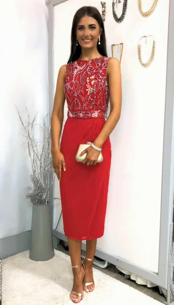 5-5229 Red Beaded Drape Dress ---- (SIZE 14,16 ONLY)