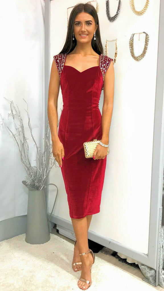 5911 Red Velvet Embellished Dress