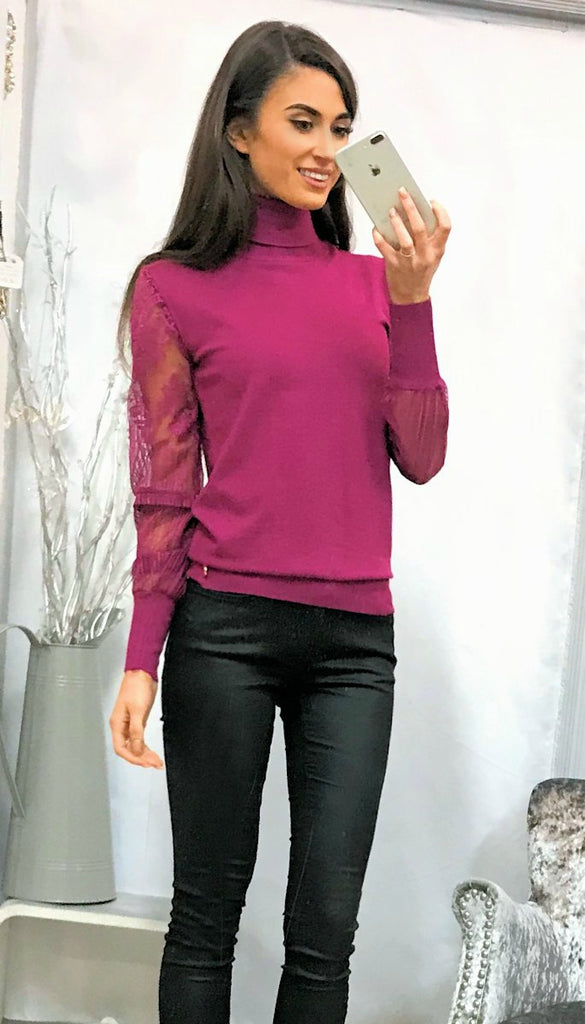 5-5251 Pink Lace Sleeve Polo Neck ---- (SIZES 14,16)