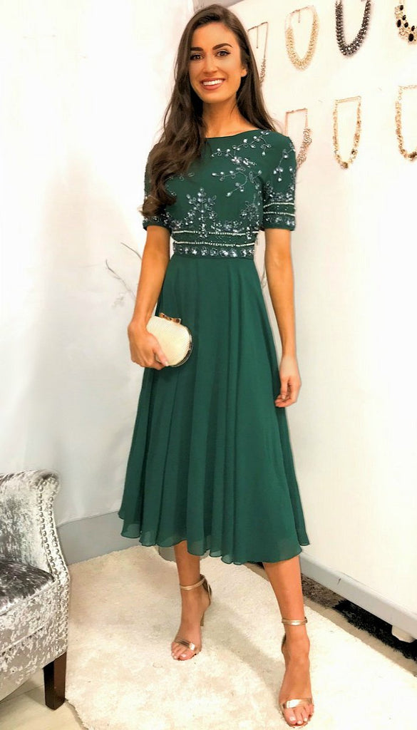 5-5357 Green Embellished Flare Dress --- (SIZE 16 only)