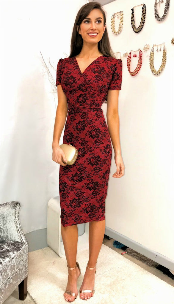 4-5267 Red Floral Print Midi Dress ---- (SIZE 16 ONLY)