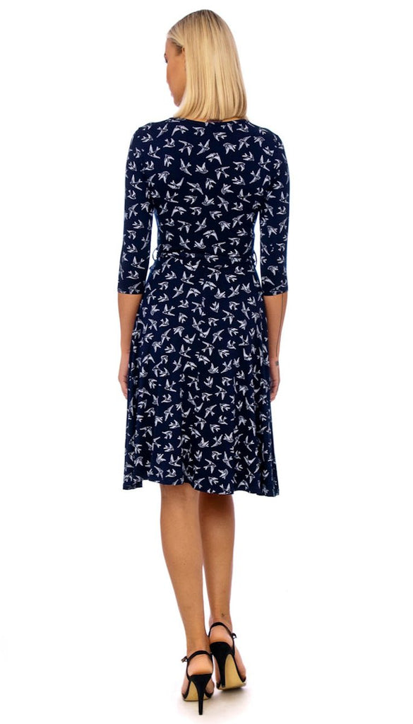 4-5268 Navy Swallow Print Day Dress --- (SIZES 8,16 ONLY)