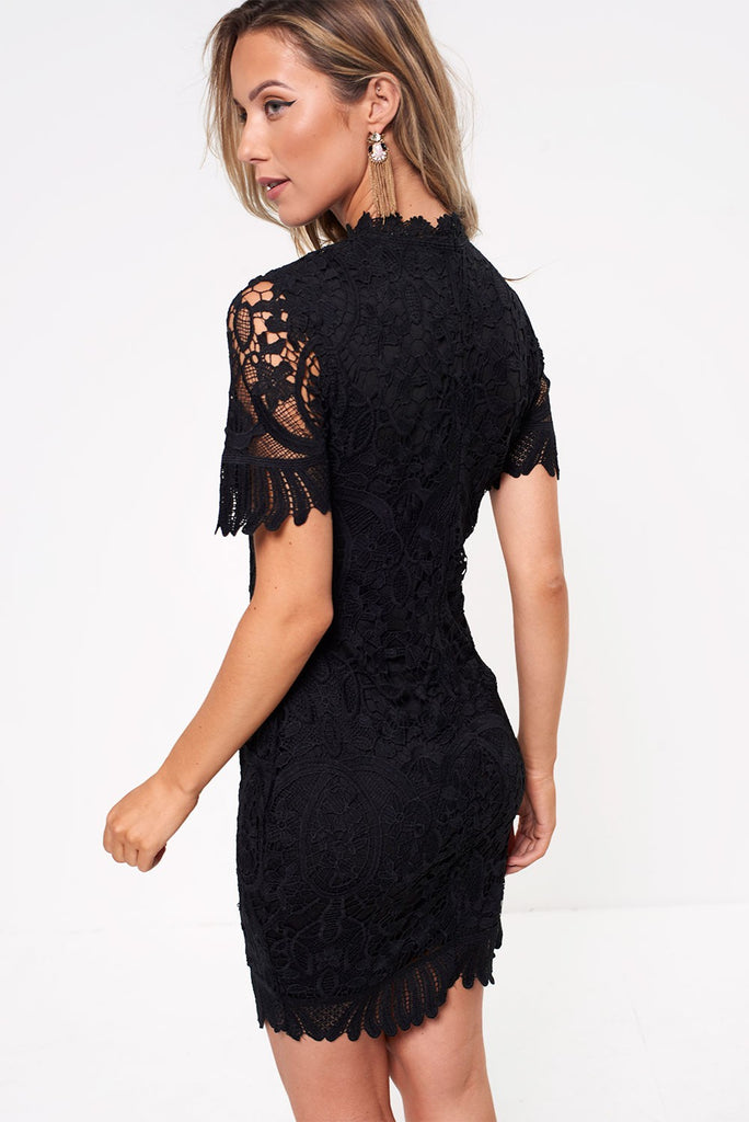 5271 Black High Neck Crochet Dress