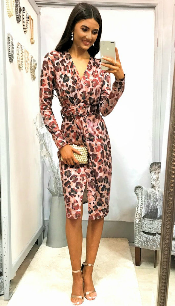 4-5281 Animal Print Wrap Bust Dress --