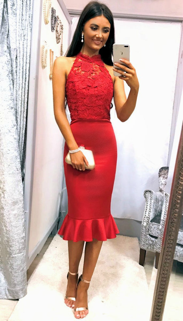 5285 Crochet Top Peplum Red Dress