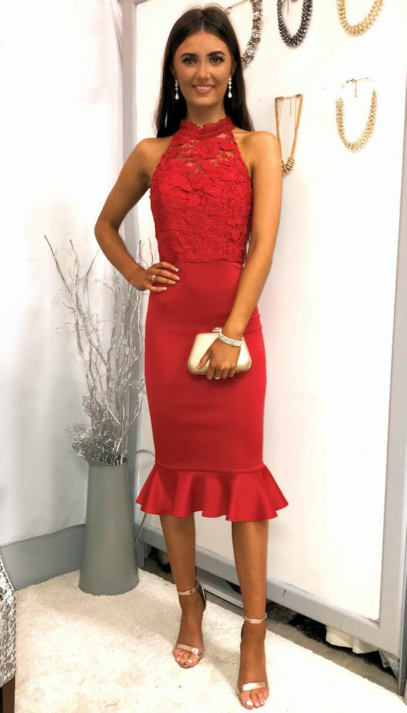 4-5285 Crochet Top Peplum Red Dress ---- (SIZES 14 ONLY)