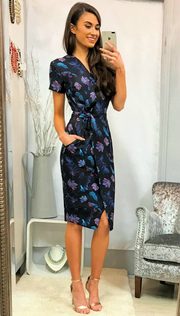 5-5286 Floral Wrap Style Dress ----- (SIZE 16 ONLY)
