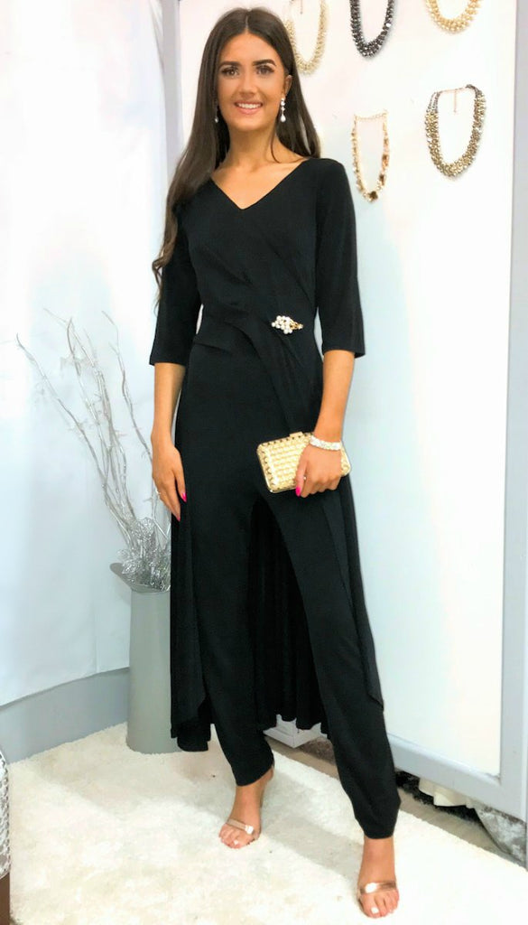 5-5290 Black Skirted Jumpsuit ---- (SIZES 14 ONLY)