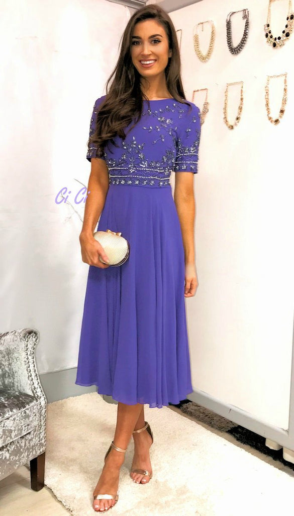 5-5435 - (SIZE 14 ONLY) - Lilac Embellished Flare Dress