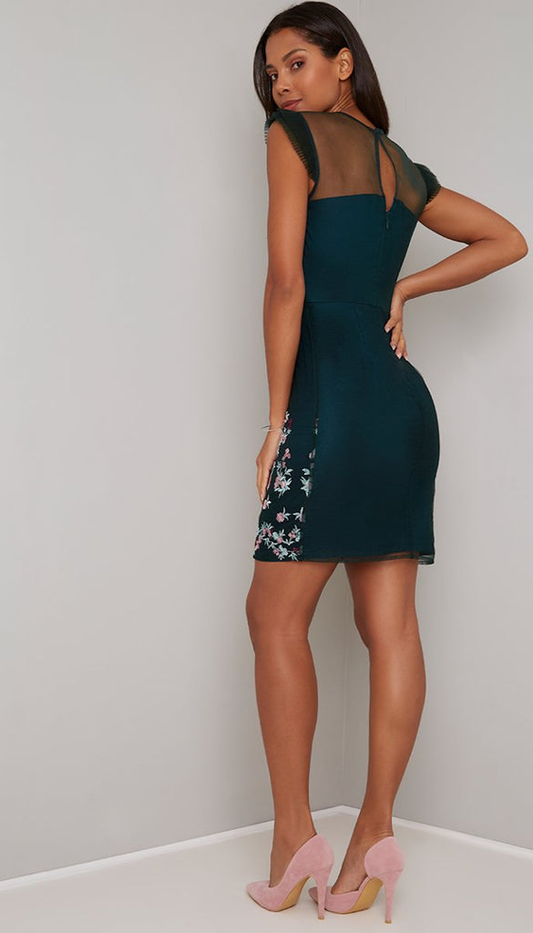 4-5295 - (sizes 8,14 only) - Floral Embroidered Mini Dress